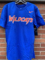 SHORT SLEEVE T-SHIRT - Wildcats fang logo in orange, white, and royal stacked letter with a semi-gradient pattern