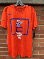 BASKETBALL TEE - white netting with a royal Louisiana College Wildcats backboard and LC Claw in the center