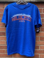 SHORT SLEEVE T-SHIRT - Louisiana College in white arched over Wildcats in orange slanted lines and a Wildcat head underneath