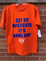 T-SHIRT S/S ORN BLOCK LOGO GET UP WILDCATS IT'S GAME DAY ABOVE WHT WILDCAT HEAD