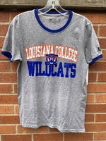SHORT SLEEVE T-SHIRT - ringer style with a royal collar and sleeve cuff and front logo featuring a full color wildcat head between an orange/white Louisiana College and royal Wildcats