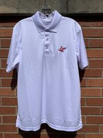 Men's Short Sleeve Polo - white 3 button with a royal LC Claw on the left chest