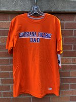 DAD TEE - royal or orange - Louisiana College over Dad in block lettering