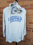 HOODIE LADIES, LOUISIANA ARCHED OVER COLLEGE IN LARGE OUTLINED ROYAL LETTERS, FRONT POCKET, ROUNDED BOTTOM