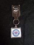 """ACRYLIC KEYCHAIN WITH THE WILDCAT IN THE CENTER OF A NAVY RING WITH THE WORDS """"LOUISIANA COLLEGE"""" CIRCLING"""