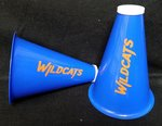 MEGAPHONE ROYAL WITH ORANGE WILDCATS ON SIDE AND WHITE CAP