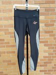 TIGHTS LADIES BLACK WITH GRAY INSERTS DOWN AND AROUND LEGS AND ORANGE/WHITE LC CLAW LEFT UPPER FRONT
