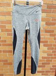 TIGHTS LADIES GRAY WITH BLACK INSERTS DOWN AND AROUND LEGS AND ORANGE/WHITE LC CLAW LEFT UPPER FRONT
