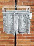 SHORTS LADIES, HEATHERED VINTAGE, FRONT POCKETS, WHITE LOUISIANA ARCHED OVER COLLEGE LEFT FRONT