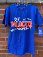 T-SHIRT S/S ORN WILDCATS ACROSS CHEST WHT WILDCAT HEAD ABOVE & SOFTBALL UNDER W/ BALL STITCHES WRAPPED AROUND